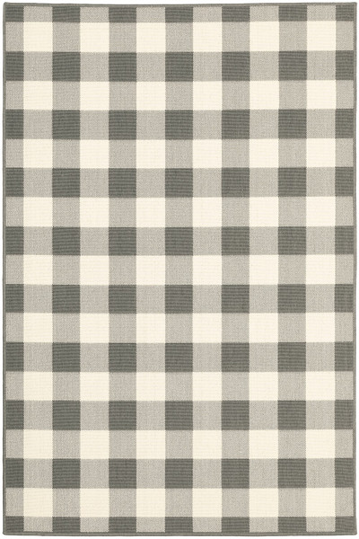 9'X13' Gray And Ivory Gingham Indoor Outdoor Area Rug 389530 By Homeroots