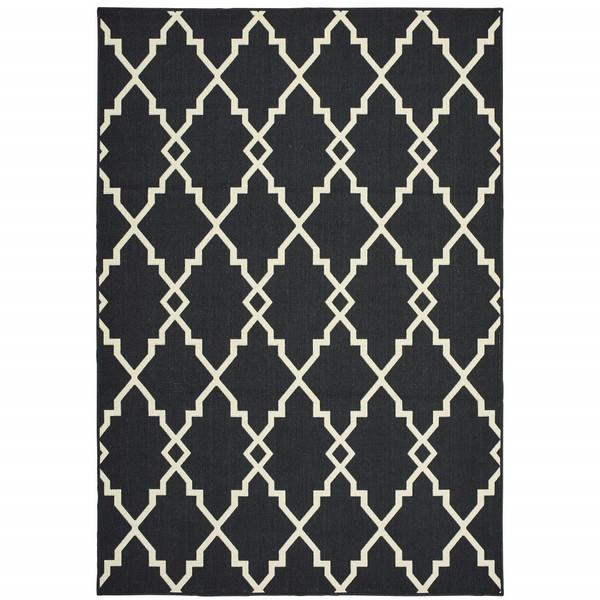 7'X10' Black And Ivory Trellis Indoor Outdoor Area Rug 389534 By Homeroots