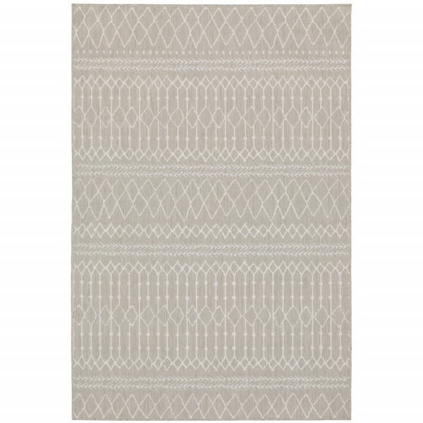 7'X9' Gray And Ivory Geometric Indoor Outdoor Area Rug 389540 By Homeroots