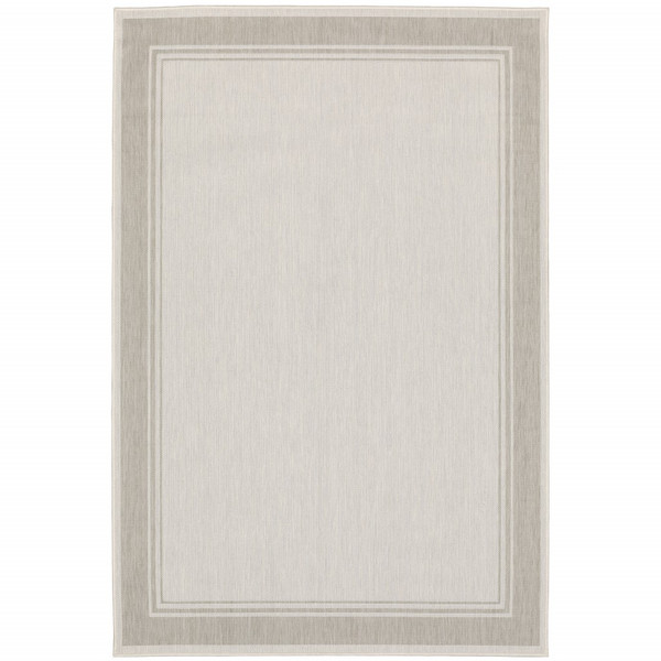 8'X10' Ivory And Gray Bordered Indoor Outdoor Area Rug 389546 By Homeroots