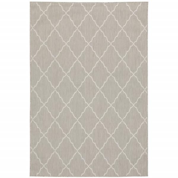 7'X9' Gray And Ivory Trellis Indoor Outdoor Area Rug 389550 By Homeroots