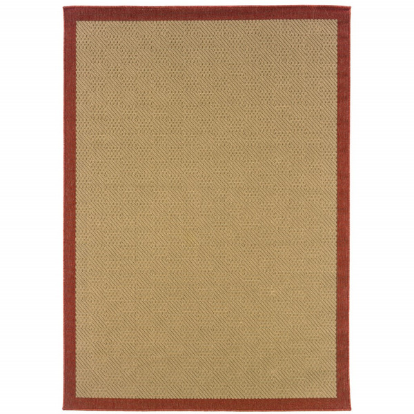 2'X4' Beige And Red Plain Indoor Outdoor Scatter Rug 389618 By Homeroots