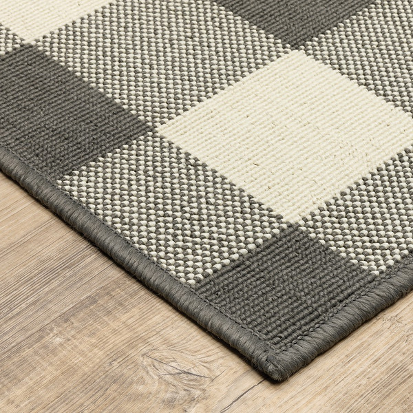 2'X4' Gray And Ivory Gingham Indoor Outdoor Area Rug 389623 By Homeroots