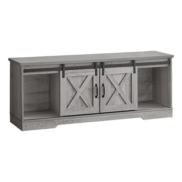 """Monarch Tv Stand - 60""""L - Grey With 2 Sliding Doors I 2747"""