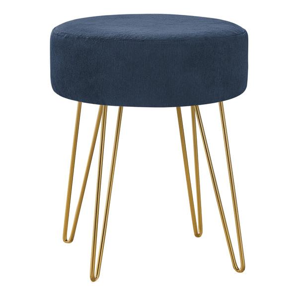 Monarch Ottoman - Blue Fabric - Gold Metal Legs I 9002