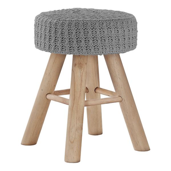Monarch Ottoman - Grey Knit - Natural Wood Legs I 9013