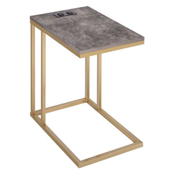 Office Star Norwich C-Table - Brown / Gold NRWBRS-GLD