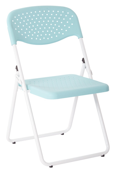 Office Star White Frame Folding Chair - Set Of 4 - White/Mint FC8000NW-16