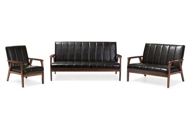 Baxton Studio Black Faux Leather 3 Pieces Living Room Sets BBT8011A2-Black 3PC Set