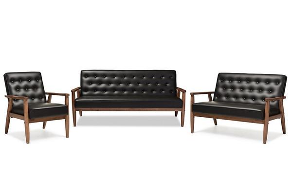 Baxton Studio Sorrento Retro Wooden 3-Piece Livingroom Sofa Set BBT8013-Black 3PC Set