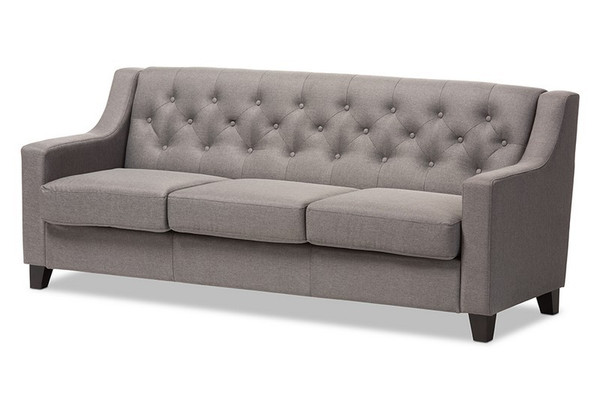 Baxton Studio Arcadia Button-Tufted Livingroom Sofa BBT8021-SF-Grey-XD45