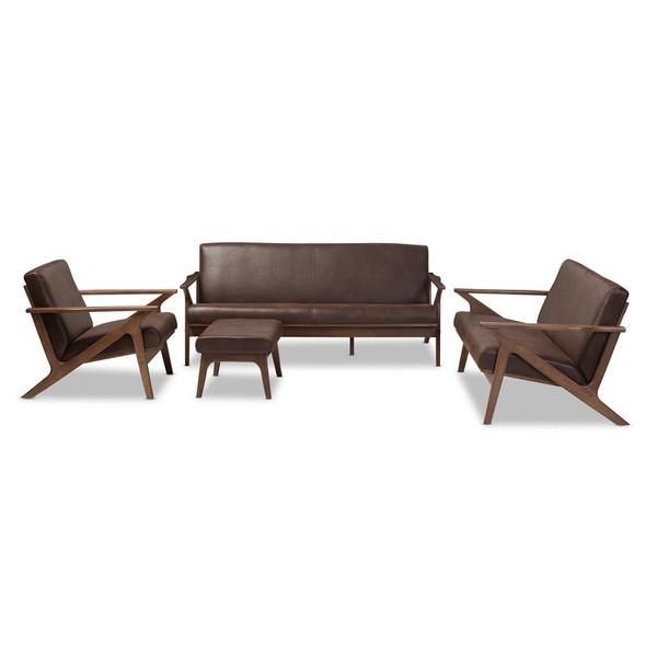 Baxton Studio Bianca Faux Leather 4-Piece Sofa Set Bianca-Dark Brown/Walnut Brown-4PC-Set