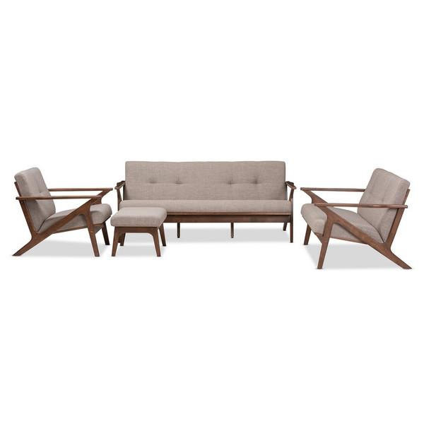 Baxton Studio Bianca Tufted 4-Piece Sofa Set Bianca-Light Grey/Walnut Brown-4PC-Set
