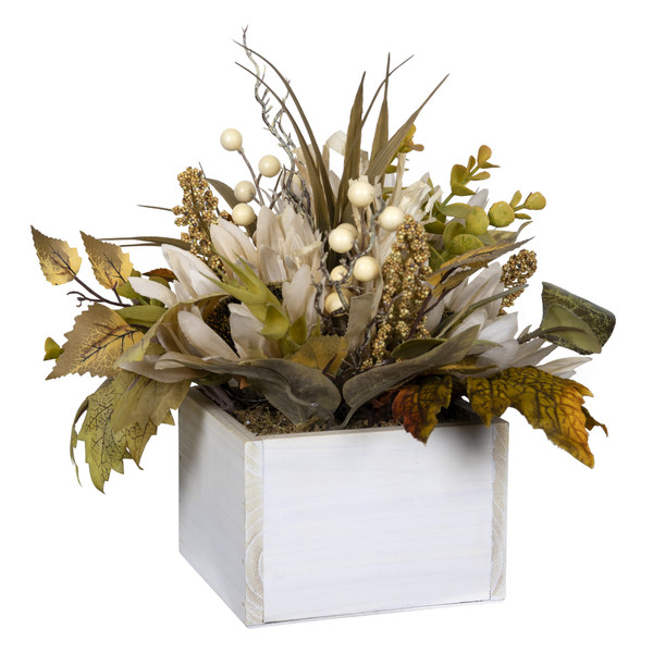 White Metal Planter With Floral Arrangement 389262 By Homeroots