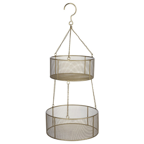 Two Tiered Gold Metal Hanging Basket 389299 By Homeroots