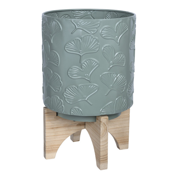 Leaf Pattern Green Planter With Wooden Base 389339 By Homeroots