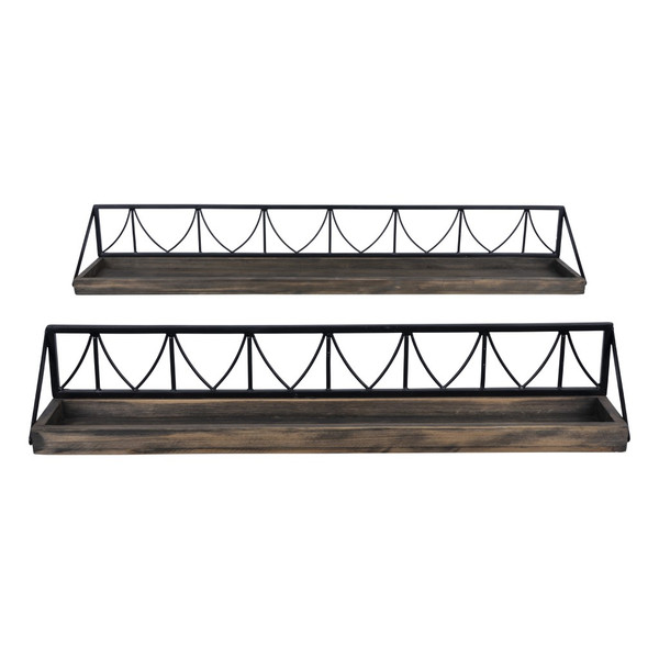 Set Of 2 Wooden Wire Mesh Floating Wall Shelves 389387 By Homeroots
