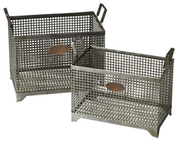Set Of 2 Iron Storage Baskets 389455 By Homeroots