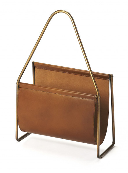 Brown Leather Magazine Basket 389459 By Homeroots
