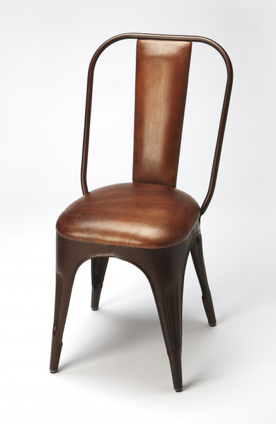 Brown Leather And Iron Side Chair 389608 By Homeroots