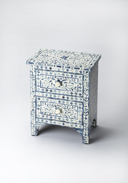 Vivienne Blue Bone Inlay Accent Chest 389722 By Homeroots