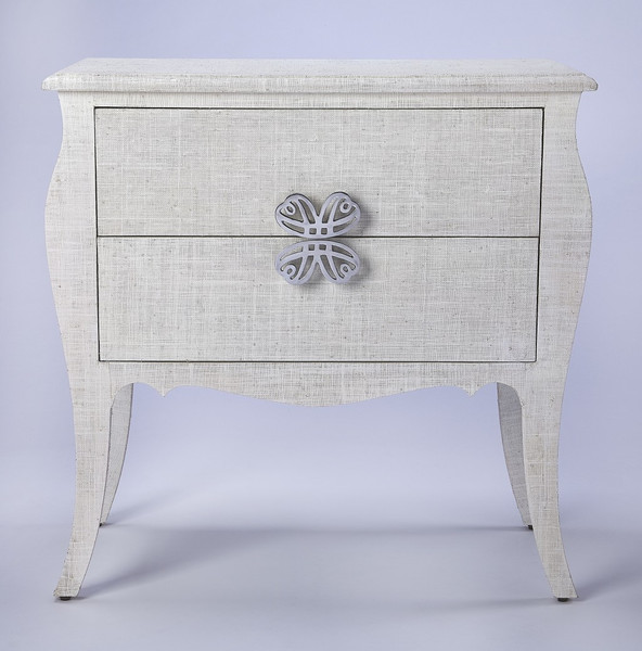 Felicia White Raffia Accent Chest 389799 By Homeroots