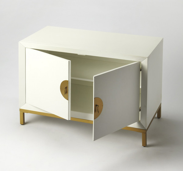 Monika White & Gold Accent Chest 389823 By Homeroots