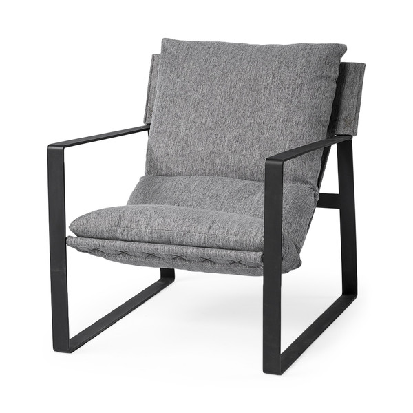 Stone Gray And Black Metal Sling Chair 392003 By Homeroots