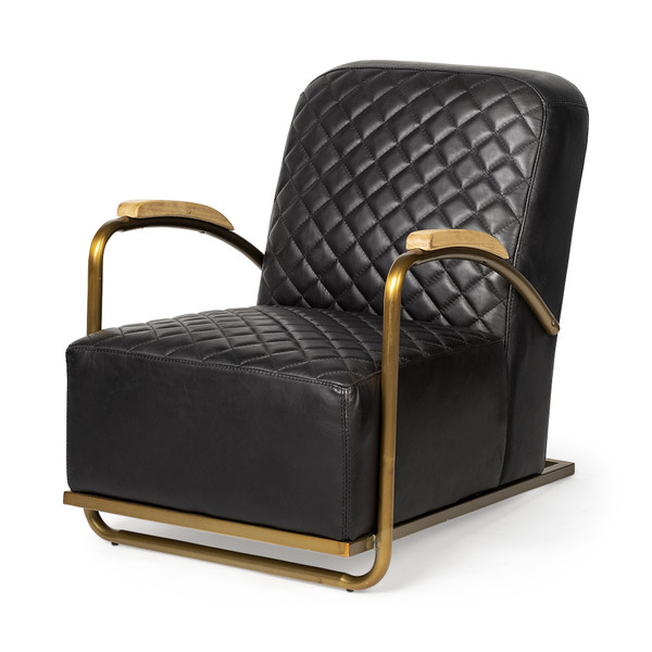 Black Leather Diamond Pattern Gold Club Chair 392004 By Homeroots