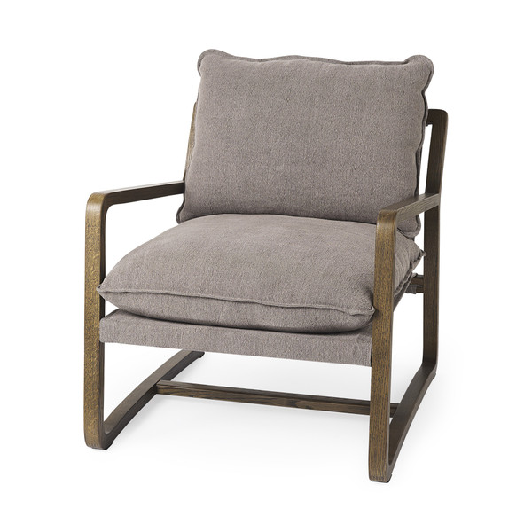 Modern Rustic Cozy Brown And Gray Accent Chair 392008 By Homeroots