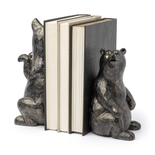 Metallic Tone Grizzly Bear Bookends 392139 By Homeroots