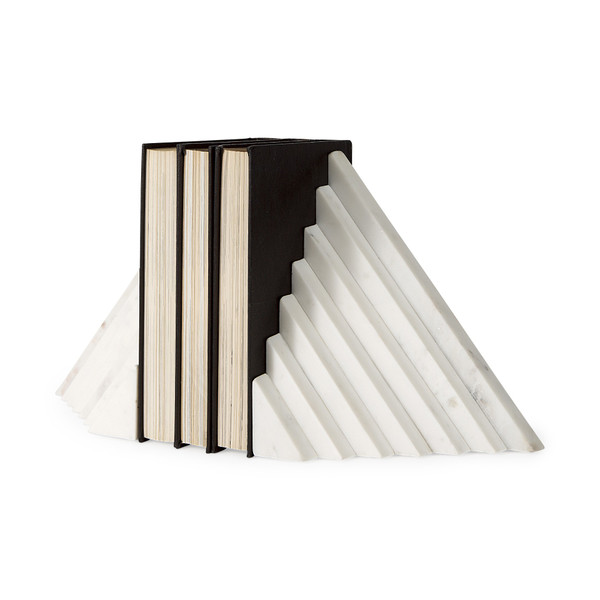 3D Modern Stepped Triangle Marble Bookends 392144 By Homeroots