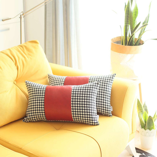 Set Of 2 Red Houndstooth Lumbar Pillow Covers 392785 By Homeroots