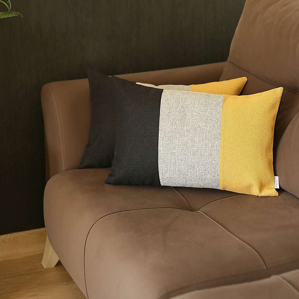 Set Of 2 Yellow Segmented Lumbar Pillow Covers 392786 By Homeroots