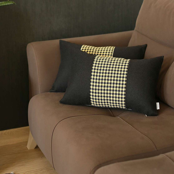 Set Of 2 Yellow Mid Houndstooth Lumbar Pillow Covers 392790 By Homeroots
