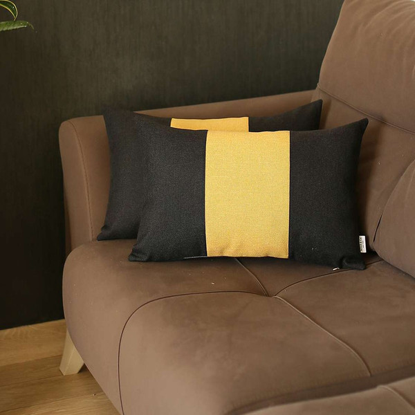 Set Of 2 Black And Yellow Lumbar Pillow Covers 392793 By Homeroots