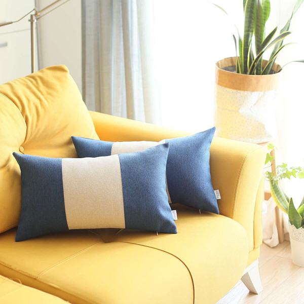 Set Of 2 Blue And Ivory Lumbar Pillow Covers 392794 By Homeroots