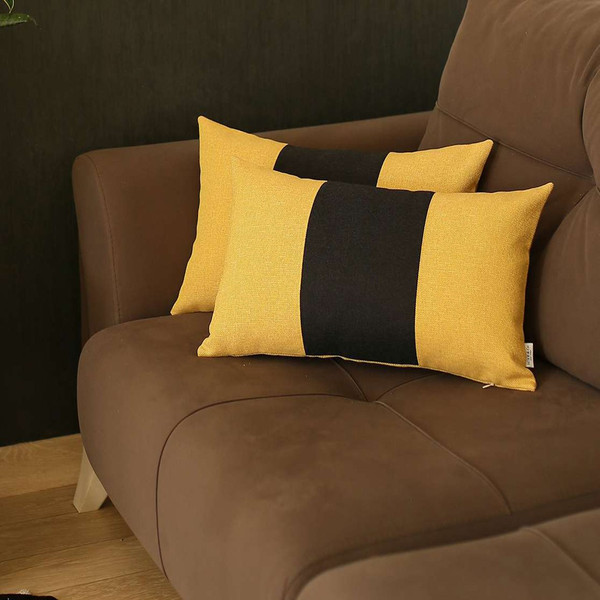 Set Of 2 Yellow And Black Lumbar Pillow Covers 392795 By Homeroots