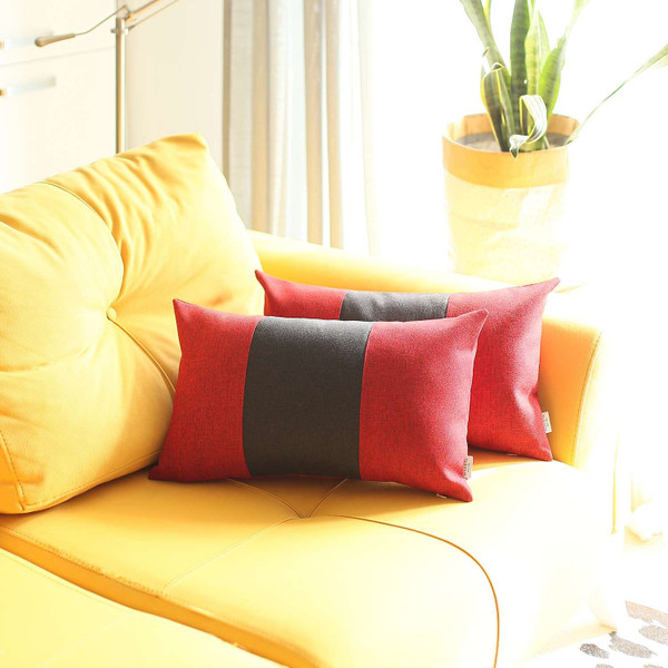 Set Of 2 Red And Black Lumbar Pillow Covers 392800 By Homeroots