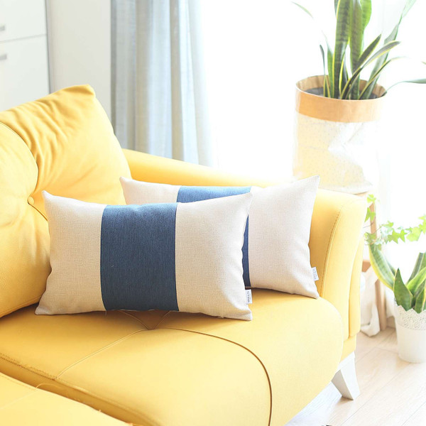 Set Of 2 Ivory And Blue Lumbar Pillow Covers 392802 By Homeroots