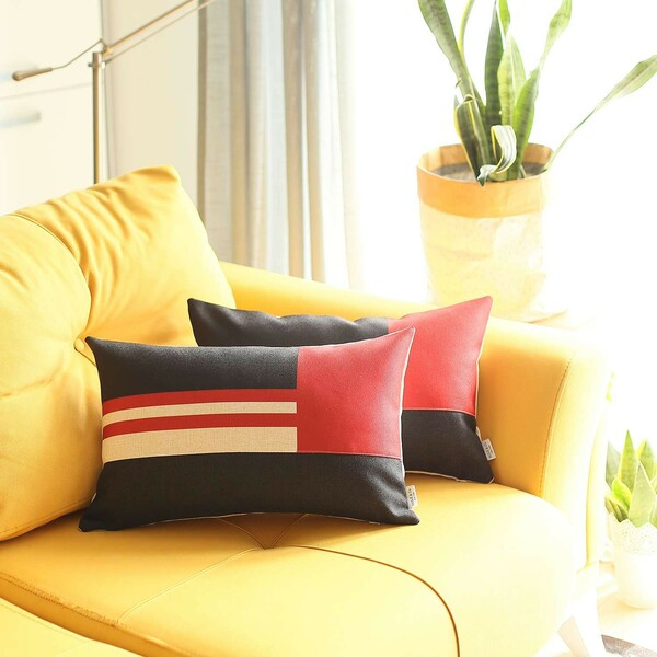Set Of 2 Red Geometric Lumbar Pillow Covers 392806 By Homeroots