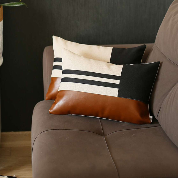Set Of 2 Brown Geometric Lumbar Pillow Covers 392808 By Homeroots