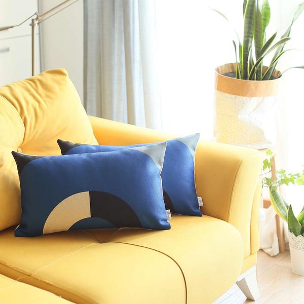 Set Of 2 Blue Modern Lumbar Pillow Covers 392810 By Homeroots