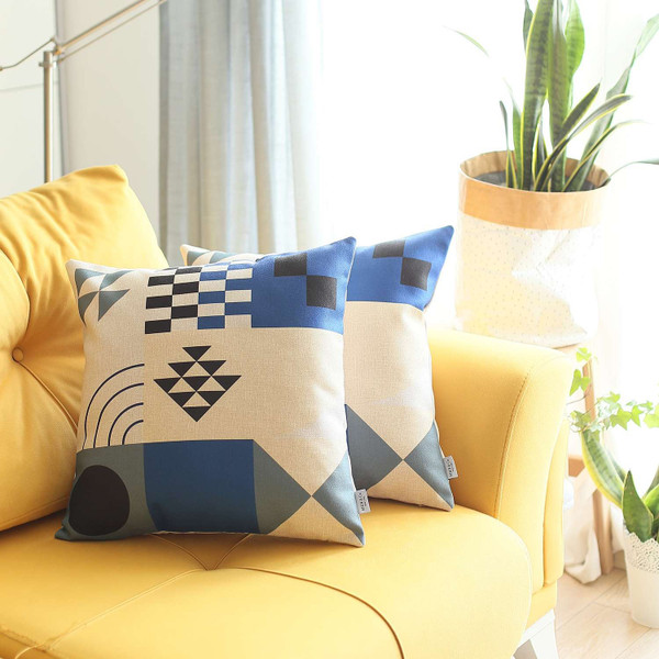 Set Of 2 Blue And Ivory Printed Pillow Covers 392811 By Homeroots