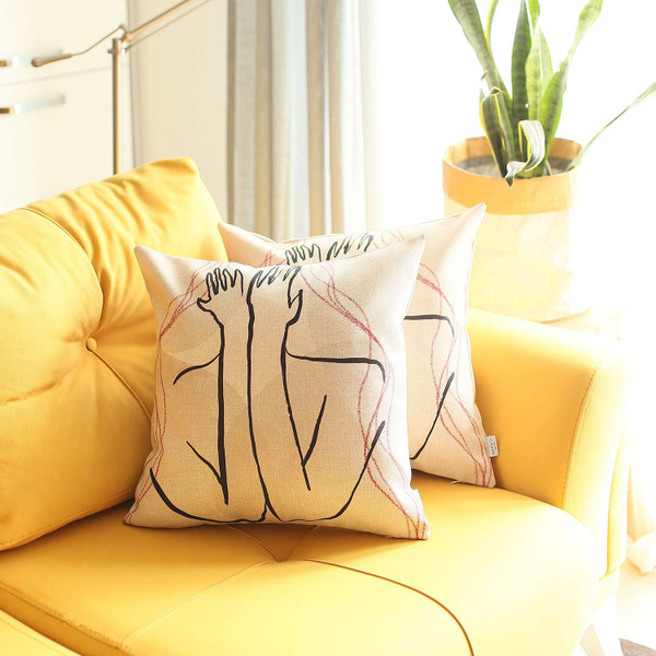 Set Of 2 White Boho Chic Printed Pillow Covers 392817 By Homeroots