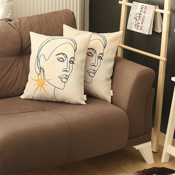 Set Of 2 White Printed Art Pillow Covers 392821 By Homeroots
