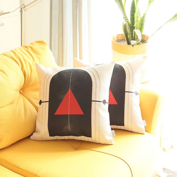 Set Of 2 Red Geometric Printed Pillow Covers 392823 By Homeroots