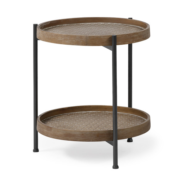 Brown Double Tier Embossed End Table 393186 By Homeroots