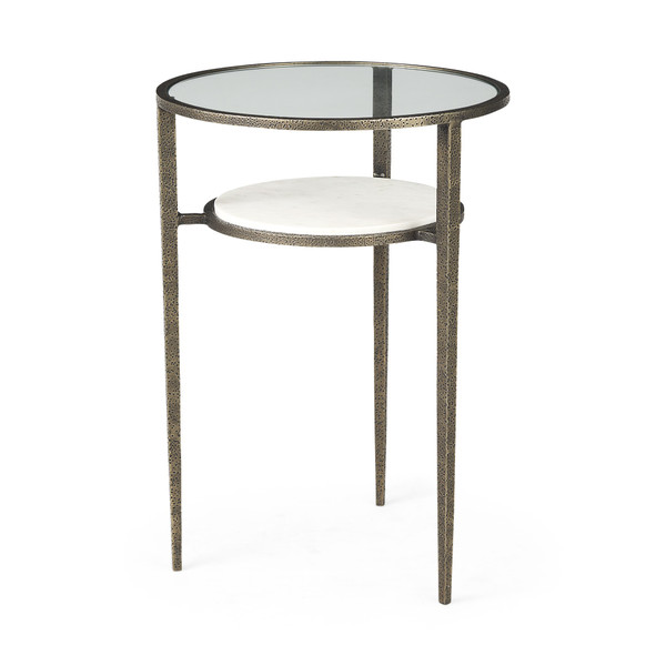 Updated Rustic Glass And Marble Antiqued Gold End Table 393196 By Homeroots