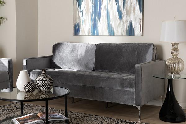 Baxton Studio Grey Velvet Fabric Upholstered 3-Seater Sofa Clara-Grey-SF